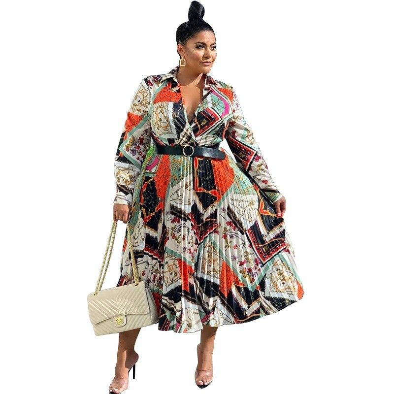 2019 ropa Africana mejor calidad nueva oficina señora vestido para mujer en tallas grandes estampado cuello vuelto manga larga vestido a la rodilla para mujer
