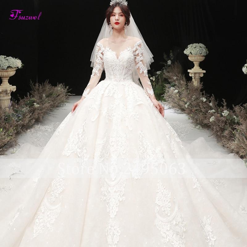 Fsuzwel Charming Scoop Neck Long Sleeve A-Line Wedding Dresses 2019 Luxury Beaded Appliques Chapel Train Bridal Gown Plus Size