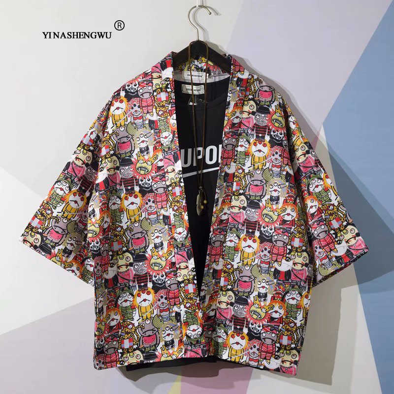 Man Kimono Cosplay Print Kimono Cardigan Outerwear Sunscreen Blouse Harajuku Asia Japanese Traditional Yukata Women Costume