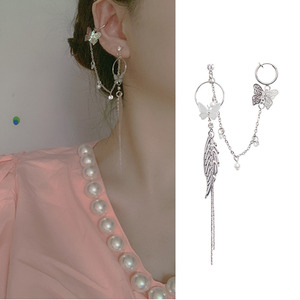 MWsonya 2020 New Korean Hollow Butterfly Ear Clip Pendant Earrings Tassels of leaves Ladies Pearl Earrings Gift Accessories