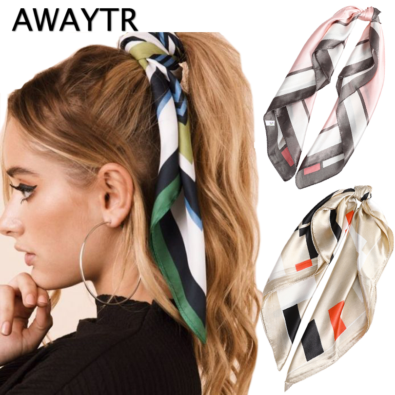 AWAYTR Fashion Summer Ponytail Scarf Hair Rope For Women Hair Bow Ties Scrunchies Hair Bands Flower Print Ribbon Hairbands