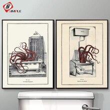 Vintage pulpo impresión divertido baño pared arte Cloakroom póster Retro gótico Steampunk baño pared cuadros lienzo pintura decoración