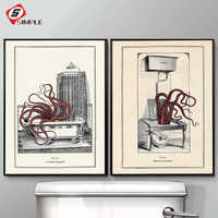 Vintage Octopus Print Funny Toilet Wall Art Cloakroom Poster Retro Gothic Steampunk Bathroom Wall Pictures Canvas Painting Decor