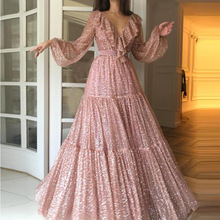 Summer V Neck Woman Dress 2019 Spring Asymmetrical Long Sleeve Boho Maxi Dresses To The Floor Pink Vestido