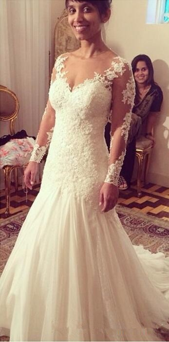 White Lace Mermaid Wedding Dresses 2015 V Neck Lace Appliques Long Sleeve Bridal Gowns Custom Made Sexy Backless Wedding Dresses