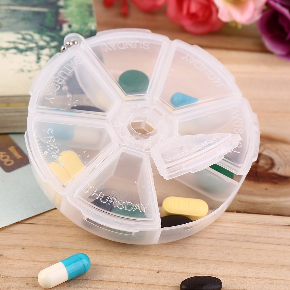 Plastic 7 Slots Round Daily Weekly 7 Days Tablet Pill Medicine Holder Organizer Pill Craft Beads Jewelry Storage Box Case