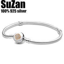 Suzan Authentic original logo 100% 925 sterling silver pan charm chain bracelet women fashion classic snake bracelet DIY jewelry
