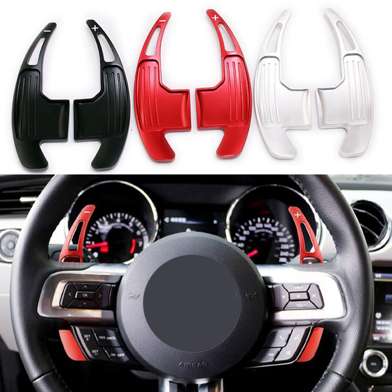 One Pair Car Steering Wheel Shift Paddle Shifter For Ford <font><b>Mustang</b></font> <font><b>2015</b></font> 2016 2017 2018 <font><b>2019</b></font> Range Red Black Silver image