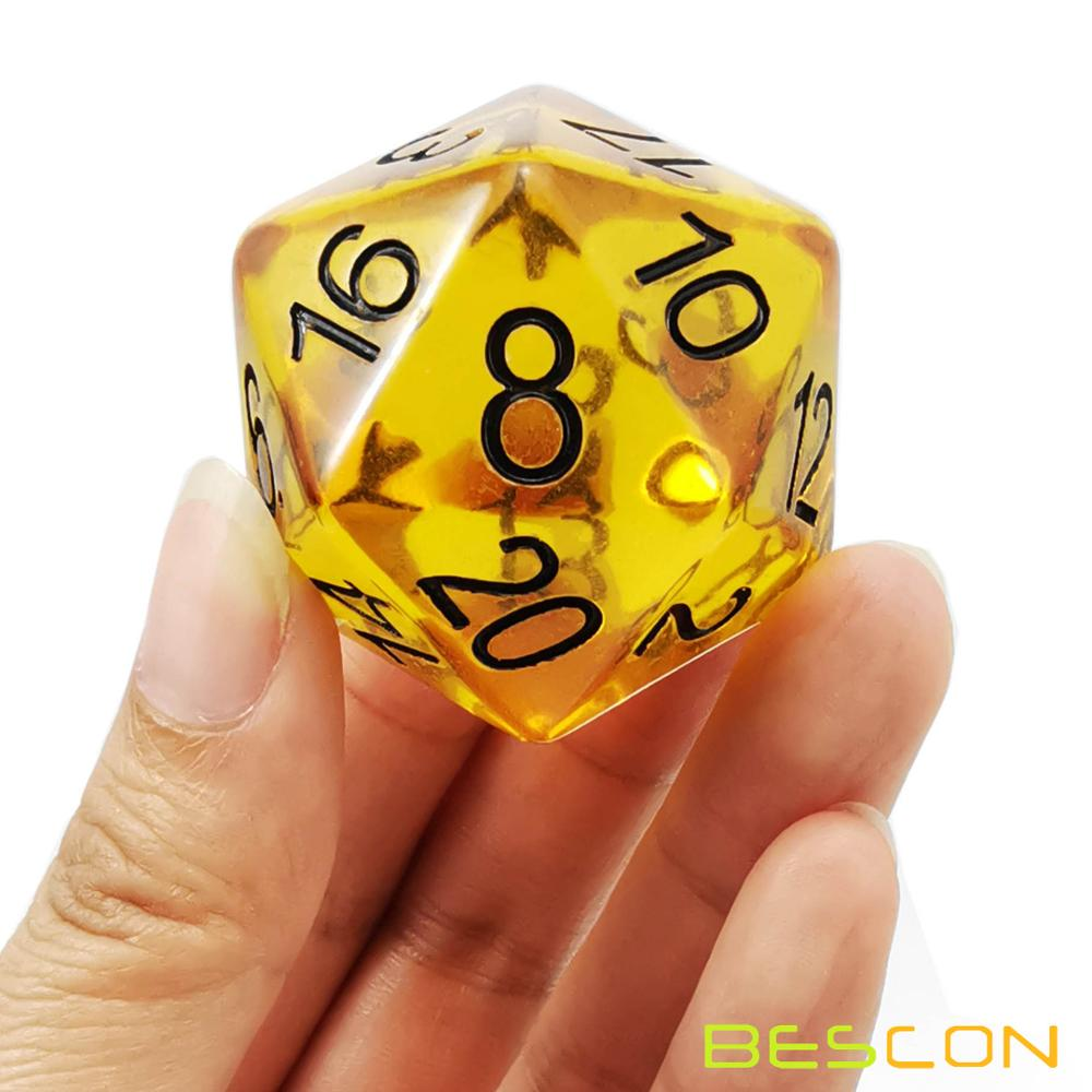 Bescon Jumbo Glowing D20 38MM, Big Size 20 Sides Dice 1.5 inch, Big 20 Faces Cube in Various Solid, Glitter, Glowing Colors 10