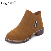 GQPJFI Women's Boots Women's Martin Boots Solid Color Retro Side Zipper Ankle Boots 2020 Spring And Fall Low Tube Platform Shoes trendy metal rivets and solid color design ankle boots for women
