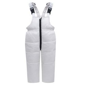 Image 4 -  30 traje de invierno para la nieve, conjunto de ropa para niños, chaqueta impermeable de plumón de pato blanco para bebés, abrigo para niñas y pantalones con babero, Parka para niños