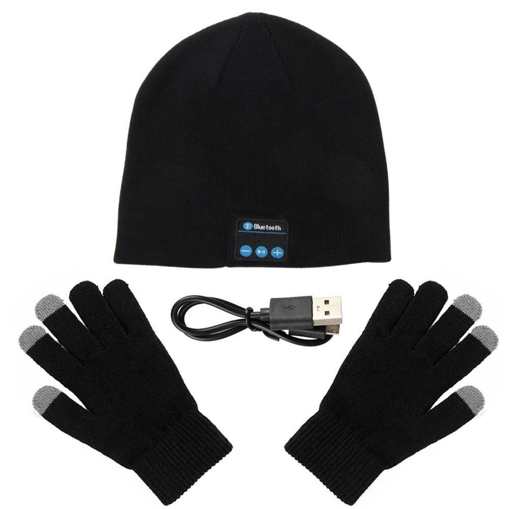 Bluetooth Hat Headphones Sport Wireless Earphones Beanie Music Cap with Gloves Winter Hat Headset Speaker for Mp3 Xiaomi Note 8