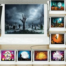 photo background Halloween Castle photography backdrop night witch crows pumpkin moon cemetery cartoon photostudio props(China)