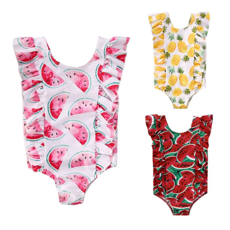 2020 Cute Kids Baby Girls Watermelon Pineapple Print Ruffle Sleeveles Bikini Suit Swimsuit Swimwear Bathing