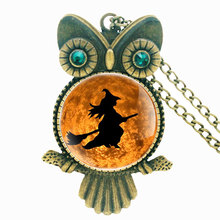Antique Bronze Handmade Inlaid Rhinestone Necklace Classic Halloween Witch Pendant Steampunk Charm Men Women  Jewelry Gifts special antique handmade necklace suit professional wood resin production special jewelry gifts for men and women