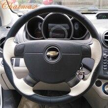 Hand Nähen Auto Lenkrad Abdeckung Individuelle Anpassen von Schwarz Wildleder Leder für Chevrolet Lacetti 2006 2012