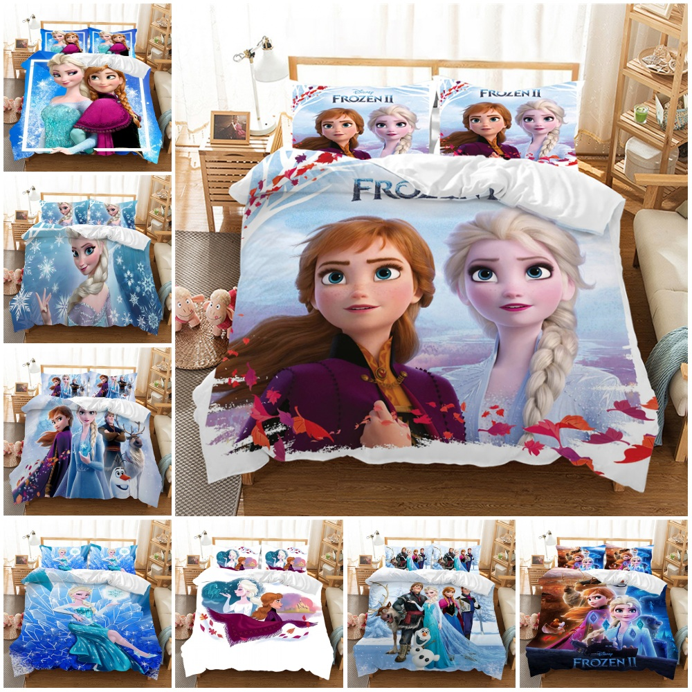 Frozen 2 Anna Elsa Bedding Set Queen King Size Bed Set Children Girl Duvet Cover Pillowcase Comforter Bedding Sets