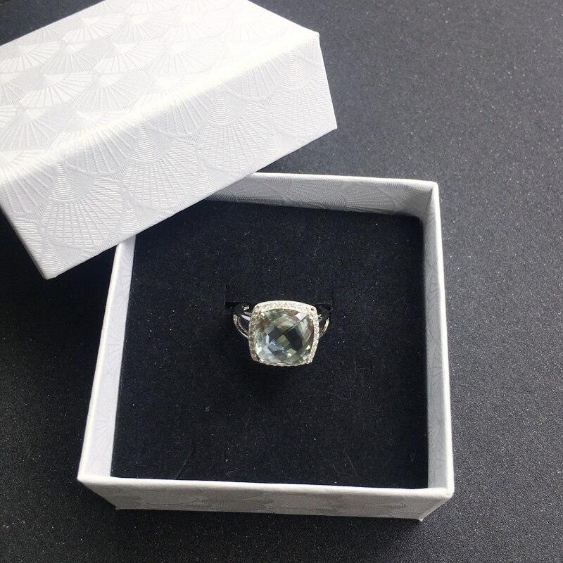 CSJ élégant vert améthyste anneau coussin cut12mm pierres précieuses anneaux sterling 925 argent fine bijoux pour femmes fille avec boîte-cadeau - 5