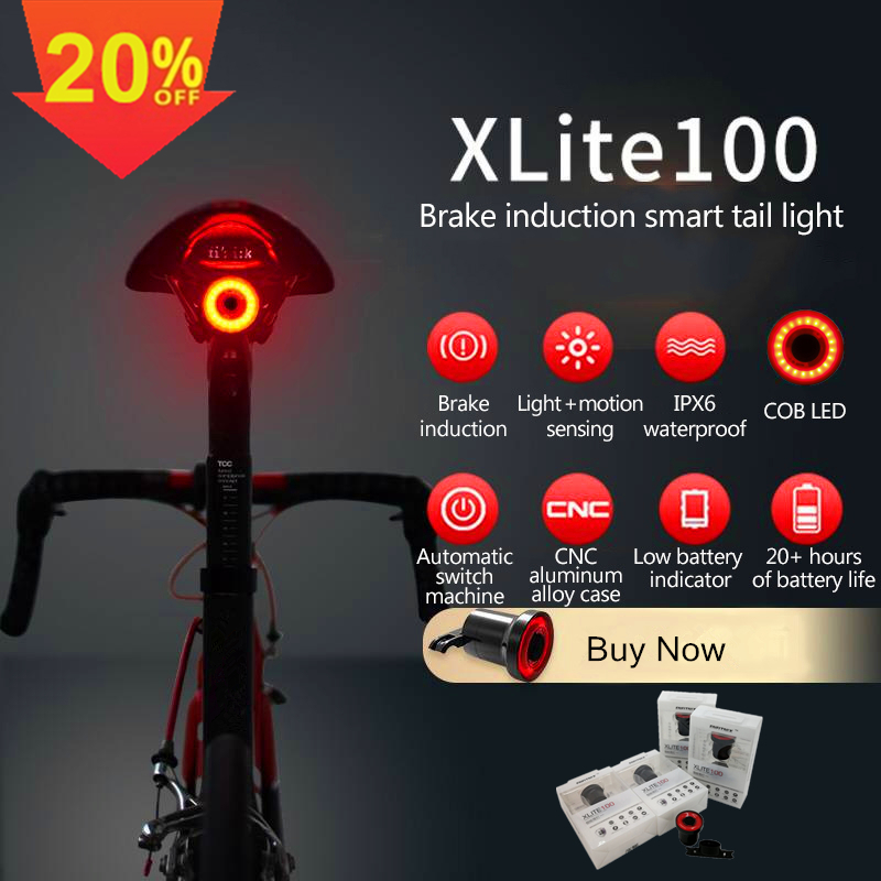 XLITE100 Bicycle Flashlight Bike Rear Light Auto Start/Stop Brake Sensing IPX6 Waterproof LED Charging Cycling Taillight 2019