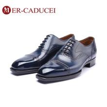 купить Men's Oxford Shoes Dress 100% Handmade Retro Vintage Luxury Shoes Genuine Leather Male Blue Party Wedding Office Mens Footwear по цене 10413.83 рублей