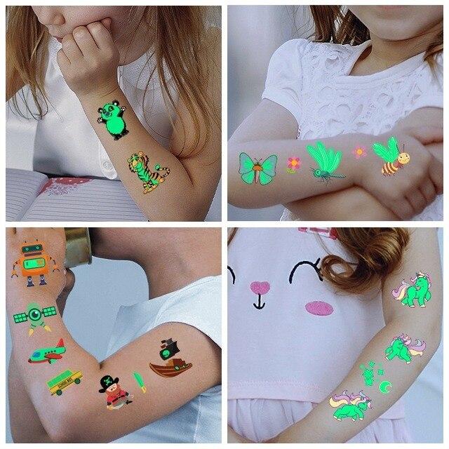 Tattoo Stickers Luminous Child Kid Temporary Fake Tattoos Glow Paste on Face Arm Leg for Children Body Art Mermaid Sticker