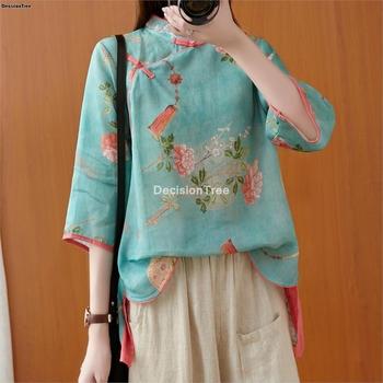 2021 kobieta tradycyjna chińska odzież top retro kwiat wydruku hanfu top kobiety topy elegancki orientalny strój tang chiński bluzka tanie i dobre opinie DecisionTree COTTON Linen CN (pochodzenie) WOMEN Suknem