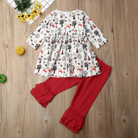 Christmas Toddler Kids Baby Girl Clothes Xmas Tops Dress Ruffle Pants Outfits