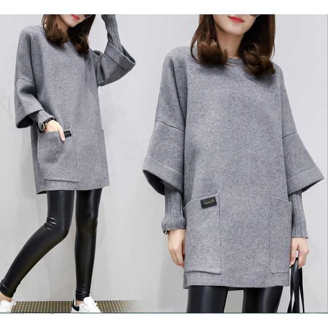 M-4XL Big Size Women's Long Loose Casual blouse Tops Korean Autumn Sweatshirt Winter Outerwear Dress