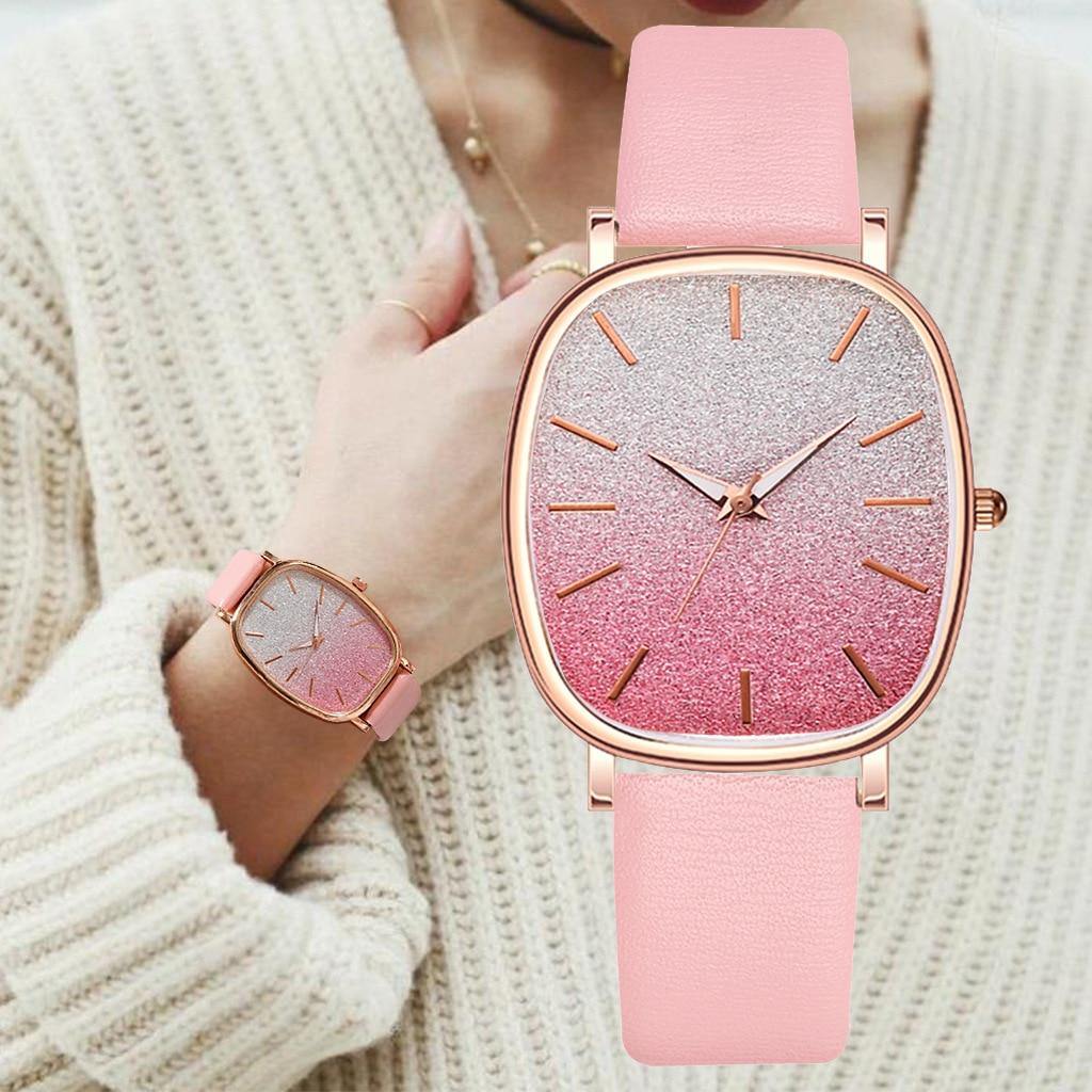 Gradient Color Clocks Dial Pink Brand Watch For Women Watches Luxury Casual Dress Rose Quartz 2020 Fashion Ladies Wristwatch