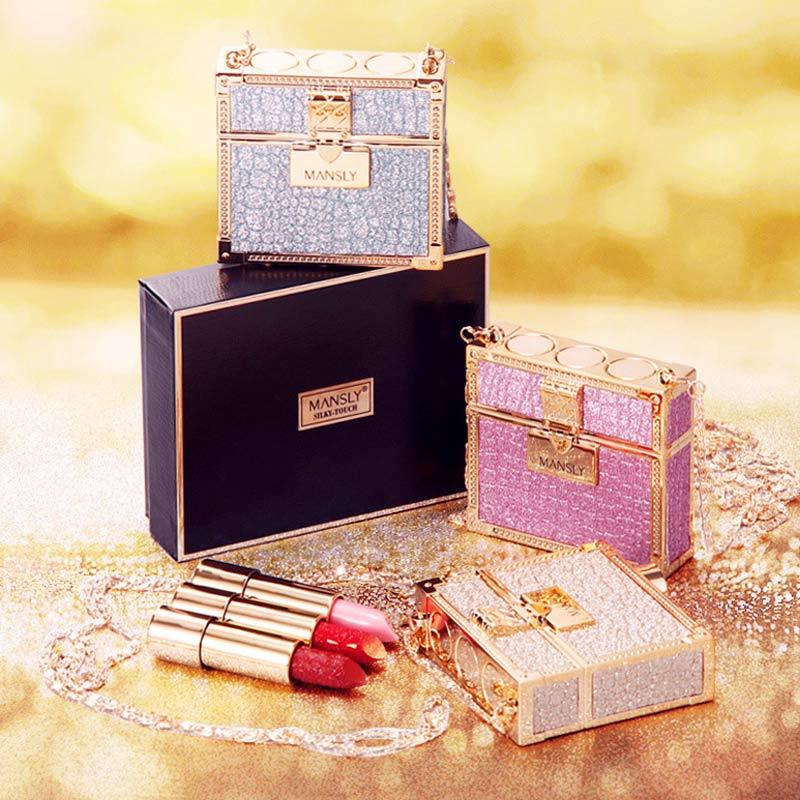 Glitter Luxury Bag Lipstick With Mirror Matte Moisturizing Velvet Lasting Temperature Change Lip Balm 3pcs In Bag Fashion Makeup