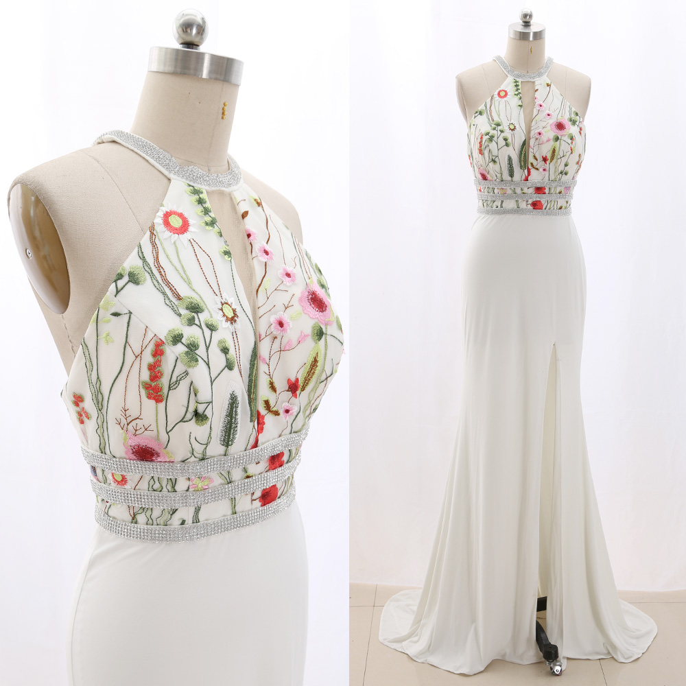 MACloth White Sweep Train Halter Floor-Length Long Crystal Jersey   Prom     Dresses     Dress   S 267398 Clearance