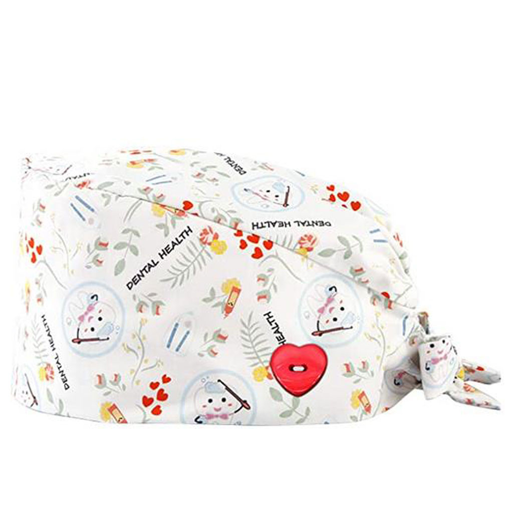 Fashion Solid Print Work Hat Surgical Scrub Cap With Buttons Bouffant Hat With Sweatband For Women Men Casquette Chirurgicale
