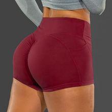 Verão esporte shorts feminino cintura alta elástico sem costura leggings de fitness push up gym training gym collants bolso yoga curto