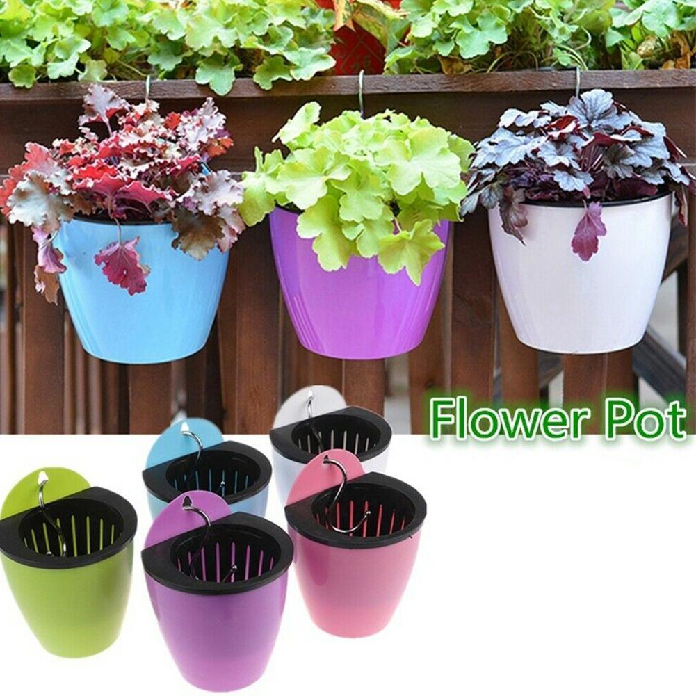New Self-Watering Plant Flower Pot Wall-Mounted Resin Thickened Flower Pot With Hook Flower Pot