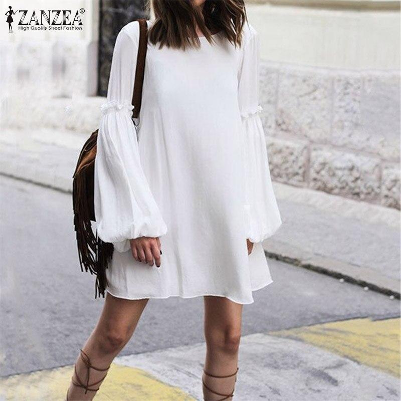 Plus Size 5XL Women's Dress ZANZEA Bohemian Loose Long Shirt Dresses Fashion Ladies Sexy Lace Up Backless Vestidos Short Dresses