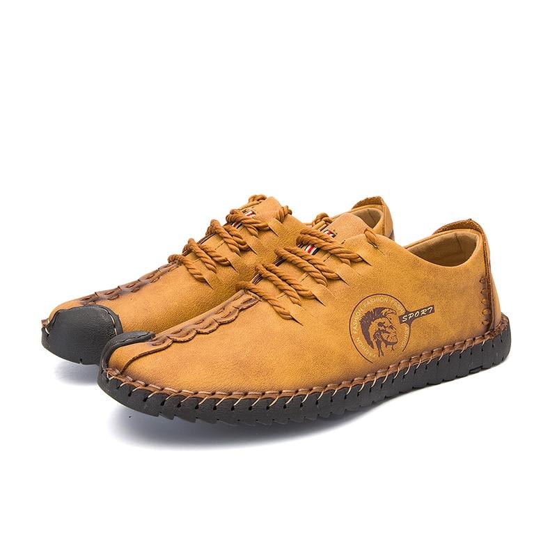 Men Casual Shoes Loafers Men Shoes Quality Split Leather Shoes Men Flats Hot Sale Moccasins Shoes Big Size 2019 New Breathable