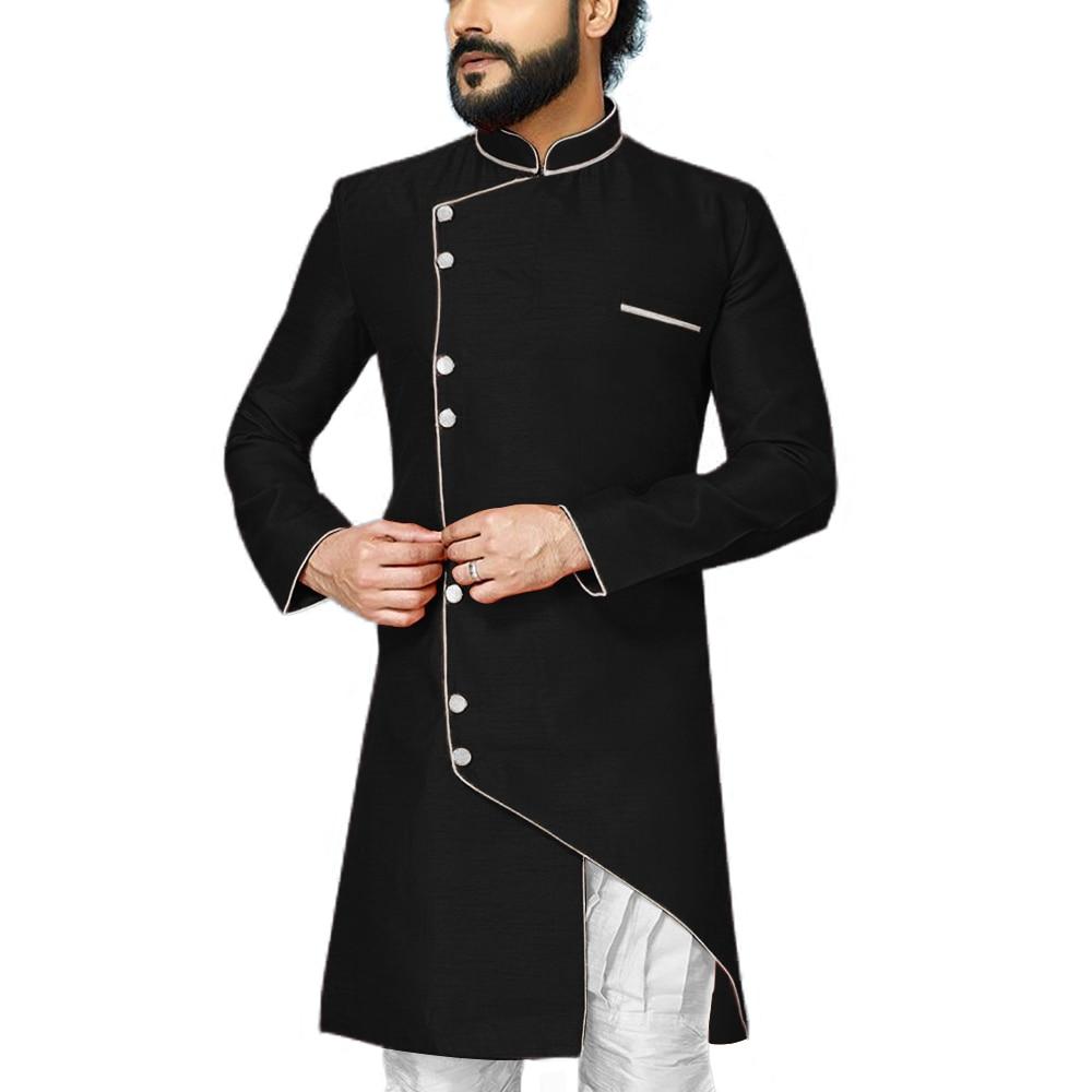 Wedding Groom Men Robe Mandarin Collar Mens Indo Western Special Dinner Party Modest Coat Contrast Color Event Blazer Jacket