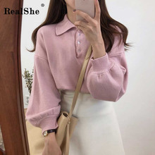 RealShe Fall Sweaters for Women Lapel Long Lantern Sleeve Buttons Cashmere Sweater Casual Solid Woman Pullover