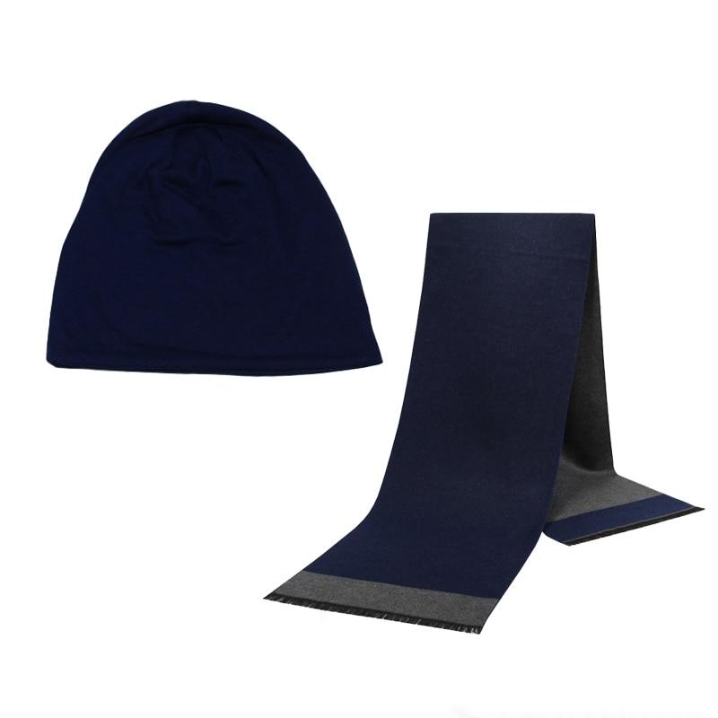Winter Beanie Hat Men Hat Scarf Solid Color Warm Cotton Scarf Hat Set Male Female Sports Hat Scarf Set 2 Pcs