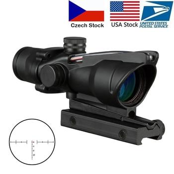 4X32 Hunting Riflescope Real Fiber Optics Grenn Red Dot Illuminated Etched Reticle Tactical Optical Sight 1