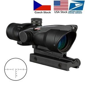 Image 1 - 4X32 Hunting Riflescope Real Fiber Optics Grenn Red Dot Illuminated Etched Reticle Tactical Optical Sight