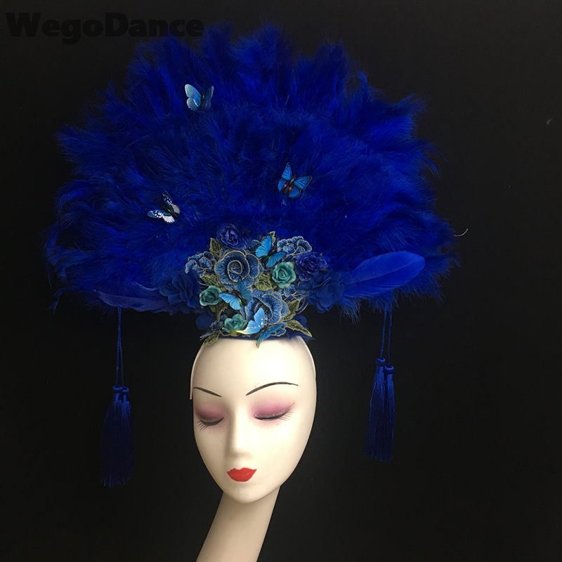 New Girl Princess Props Headwear China Ancient Queen Headdress Butterfly Feather Hairband Stage Show Crown