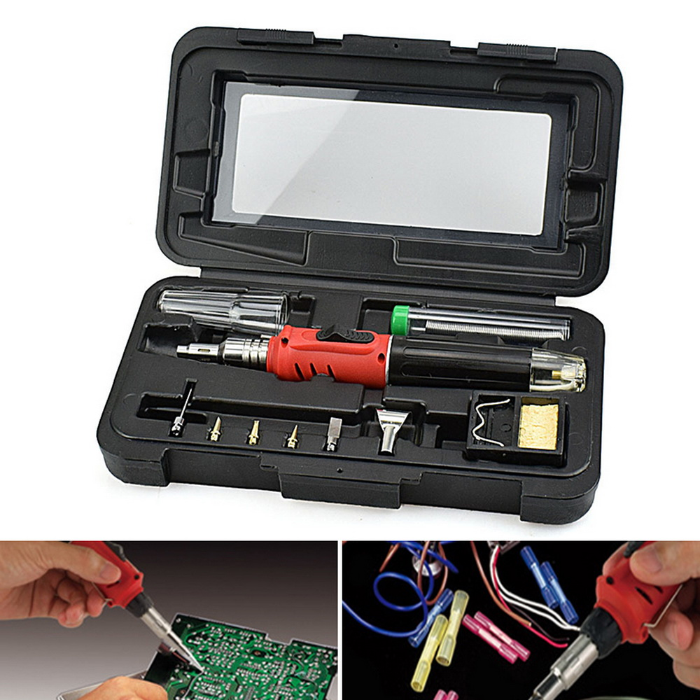 Soldering Iron  10 In 1 Professional Soldering Iron Set Butane Gas Iron Welding Torch Kit Tool Butane Soldering Iron Torch New