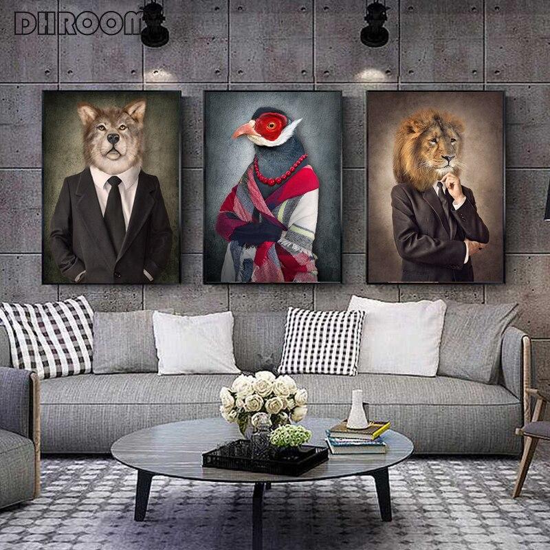 Картина на холсте животные в ткани Ретро стиль стены Искусство Лев носит костюм плакат волк Слон Печать картина для декора гостиной|Рисование и каллиграфия|   | АлиЭкспресс