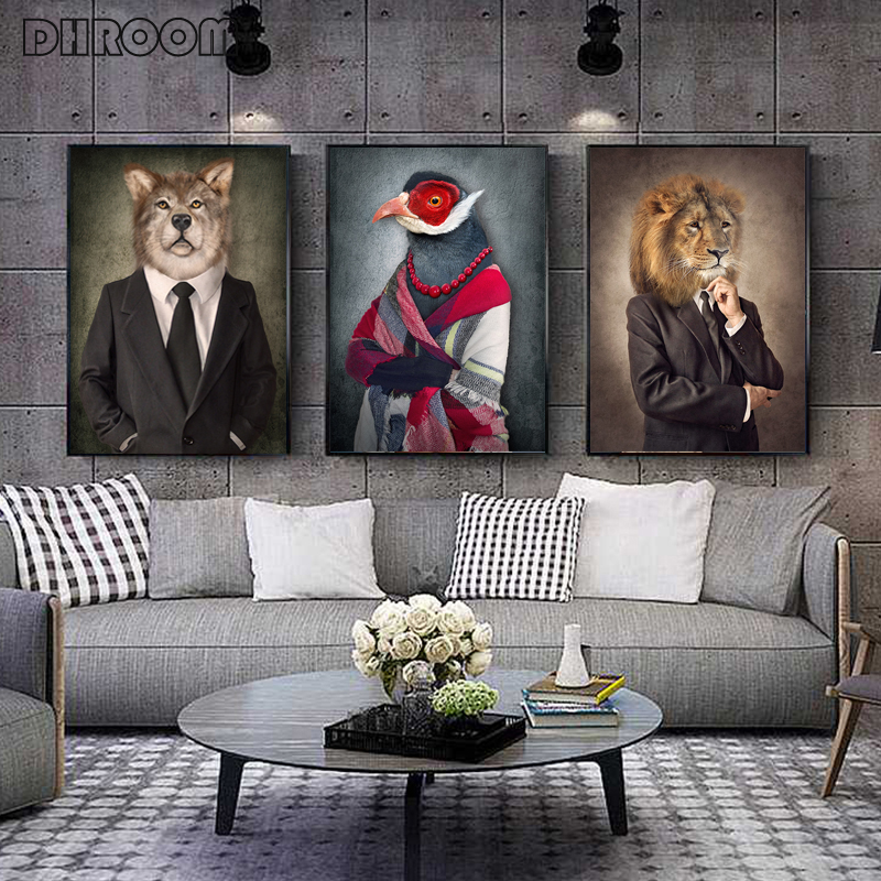 Leinwand Malerei Tiere In Tuch Retro Stil Wand Kunst Lion Trägt EINE Anzug Poster Wolf Elefanten Bild für Wohnzimmer room Decor