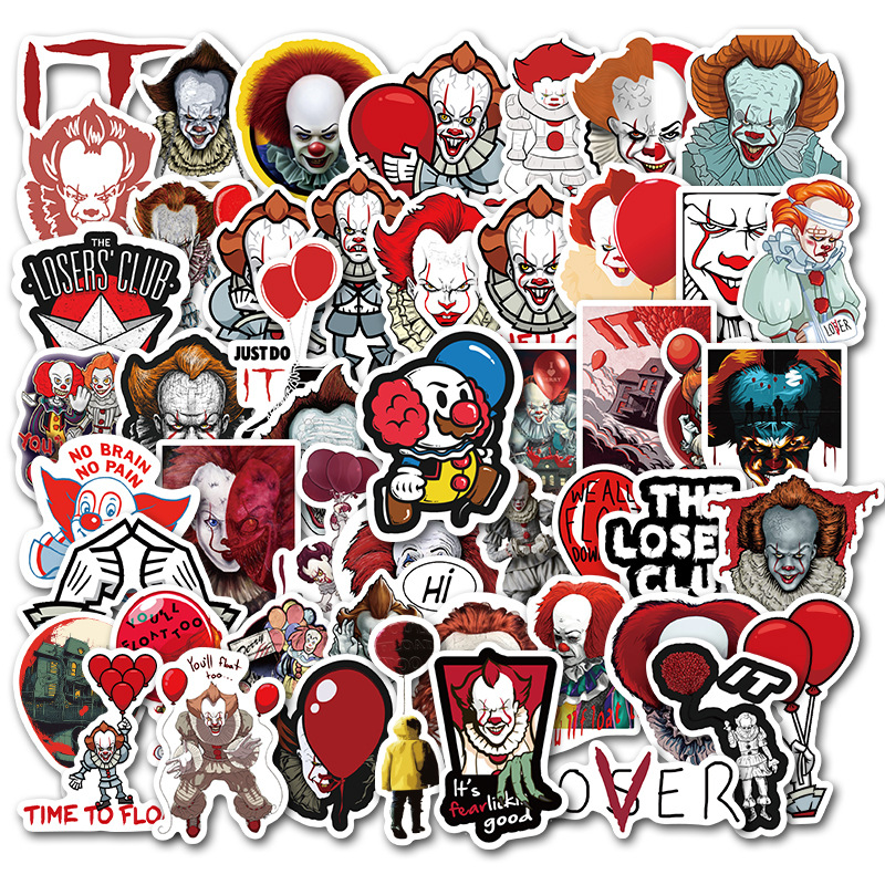 10/30/50PCS Horror Movie Stephen Kings It Sticker Pennywise Joker Decal Sticker For Kids Toy To DIY Moto Car Laptop Suitcase