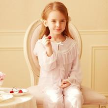 Little Princess Style Pajamas For Baby Girls Long Sleeve Bow Lace Nightwear Toddler Girls Soft Cotton Sleepwear Leisure Homewear