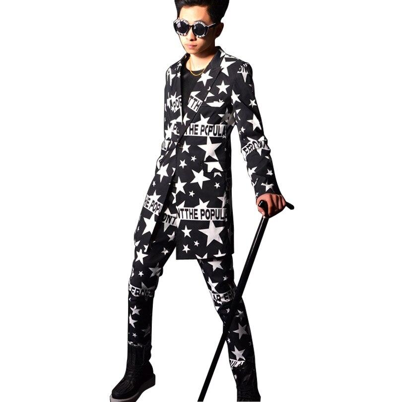Men 2 Pieces Suits Sets (jacket+pant) Custom Singer DJ Costumes Male Casual Star Pattern Long Suit Jacket Slim Fit Blazers Coat