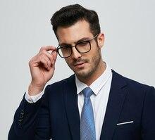цены на EOOUOOE Square Men Optical Glasses  Retro Design Metal Acetate Prescription Lens Gafas Myopia Oculos De Grau Male Glasses Frame в интернет-магазинах