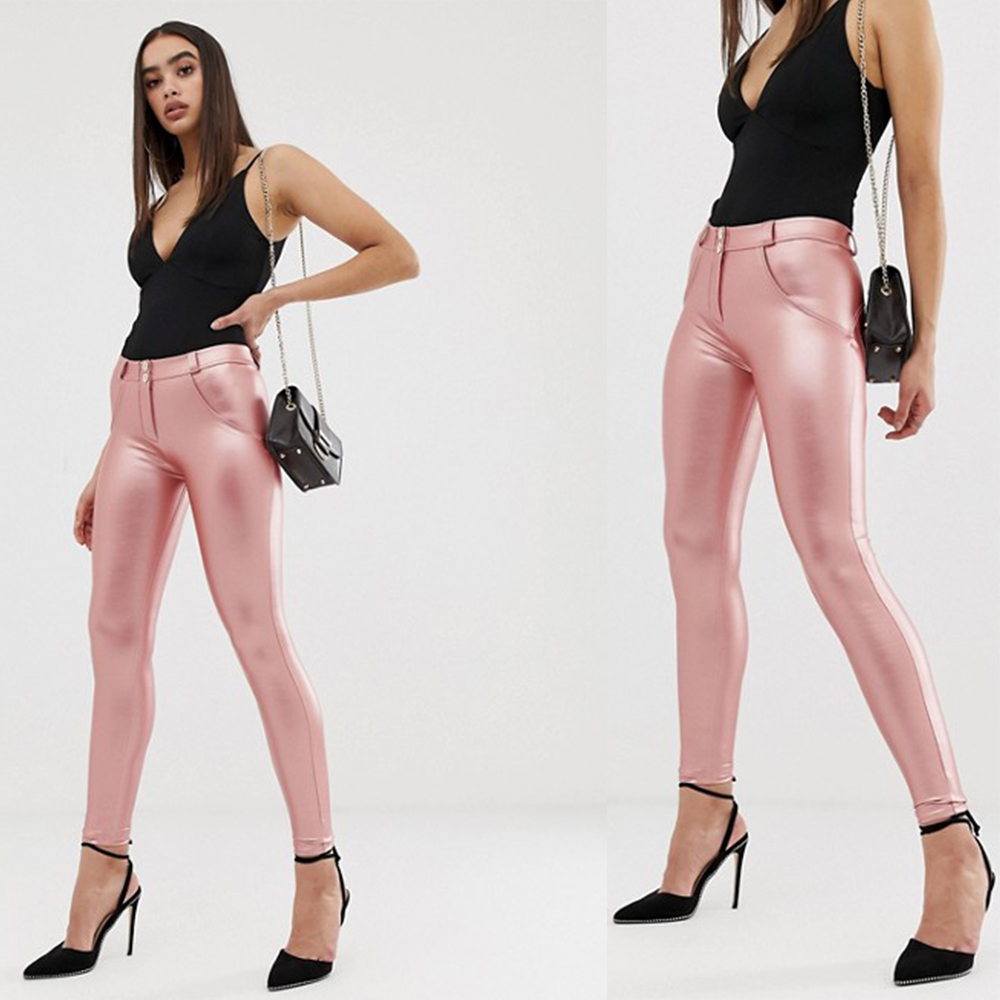 Melody Sexy Faux Leather Pants Winter Mid Waist Pink Leather Long Pants Women Push Up Skinny Pants With Fleece Lined New Arrival